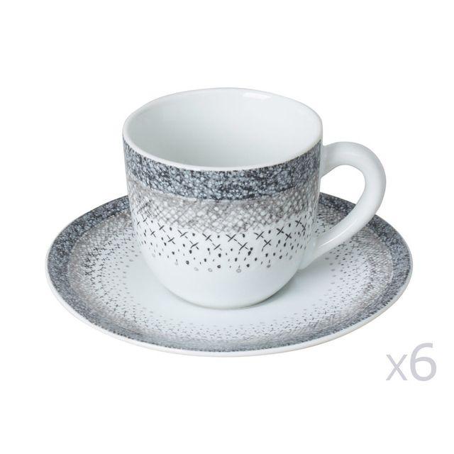 Table Passion Tasse à café + soucoupe en grès - Lot de 6 Stella