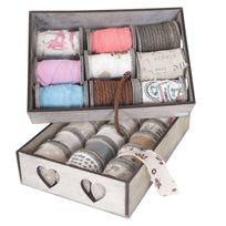 Mendler - 2x box de décoration, bandes de décoration, boîte à ficelles, 27 galets