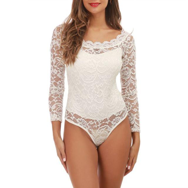 Lamodeuse - Body blanc col bardot en dentelle - pas cher Achat ... 053b5faeac3