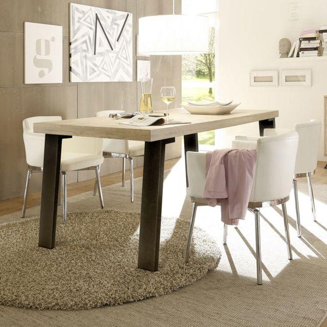 Kasalinea Table de salle à manger couleur bois contemporaine Plume