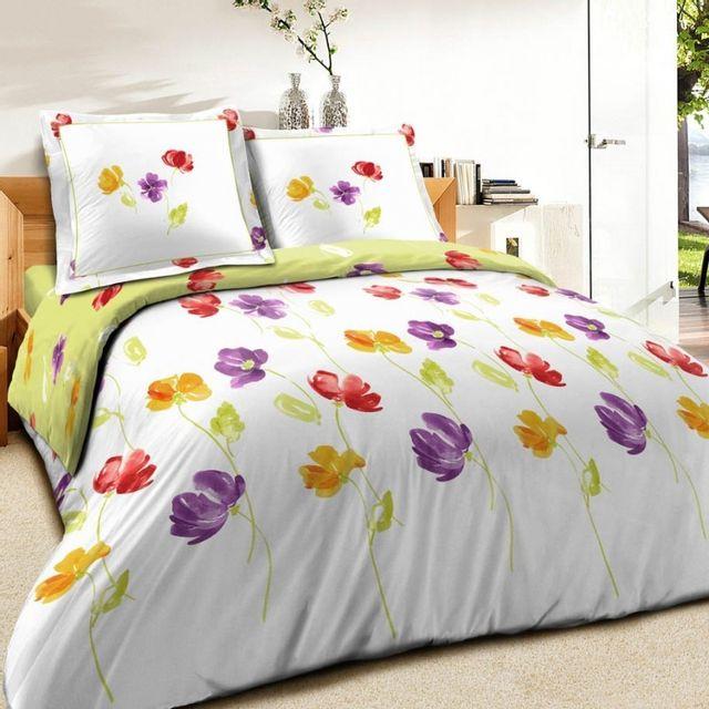 100pourcentcoton housse de couette 260x240cm 2 taies d 39 oreiller 65x65 bucolique pas cher. Black Bedroom Furniture Sets. Home Design Ideas