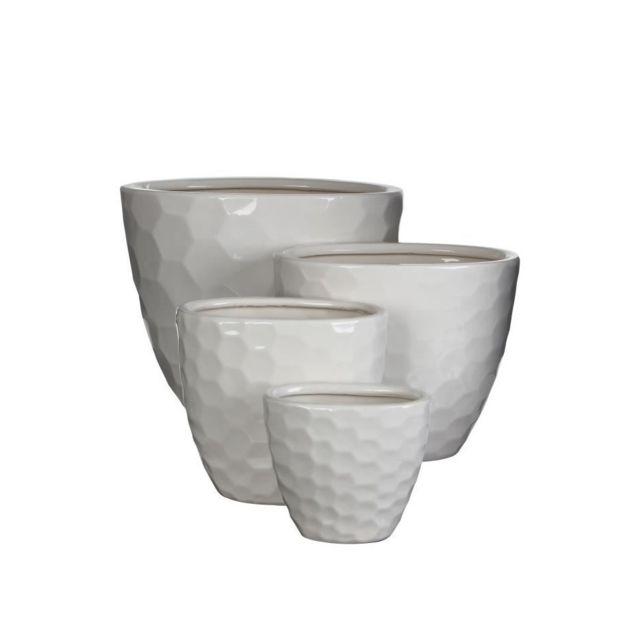mica set de 4 cache pots oval int rieur diamond blanc 37x 26 x 29 5 cm pas cher achat. Black Bedroom Furniture Sets. Home Design Ideas