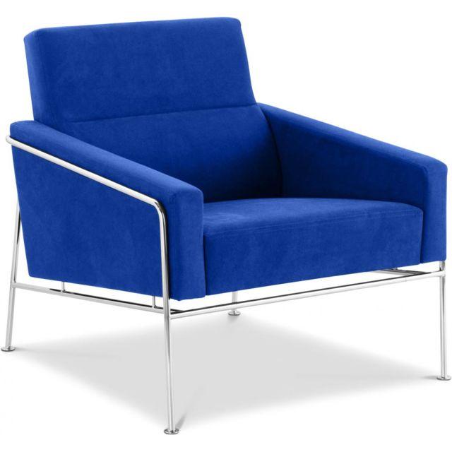 Privatefloor Fauteuil De Salon Design 3300 Easy Chair Tissu Bleu