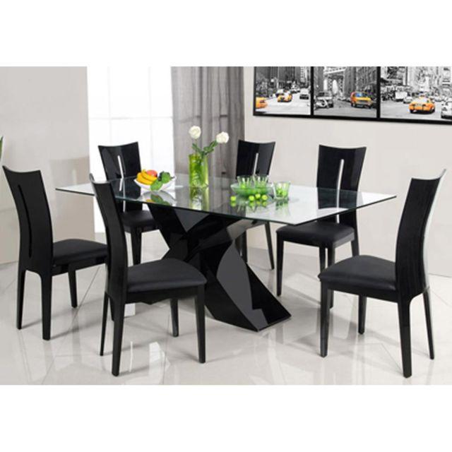 b571ab86d8f HABITAT ET JARDIN - Table repas Mona - 200 x 90 x 74 cm - Noir - pas ...
