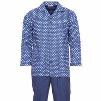 Mariner - Pyjama long en popeline de coton : veste boutonnée bleu marine à motifs cachemires blancs et bleus et pantalon bleu marine