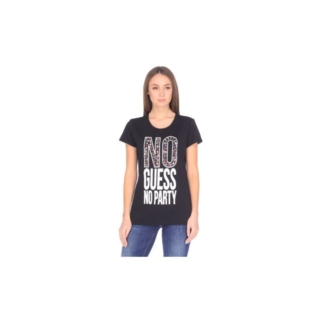Guess - T-shirt Femme No Party Noir - Taille - M - pas cher Achat   Vente  Tee-shirts, tops - RueDuCommerce 93a65912b79