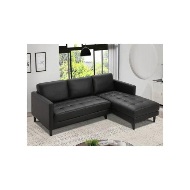 Canapé d'angle en cuir VITAU - Noir - Angle droit