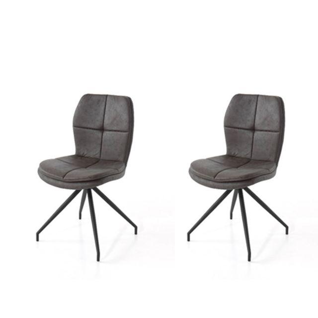 Nouvomeuble Chaise taupe en tissu design Evanna lot de 2