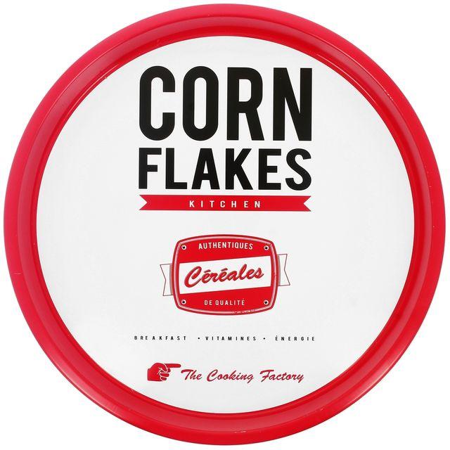 Promobo Plateau Rond En Métal Déco Vintage Licence Kelloggs Corn Flakes Blanc
