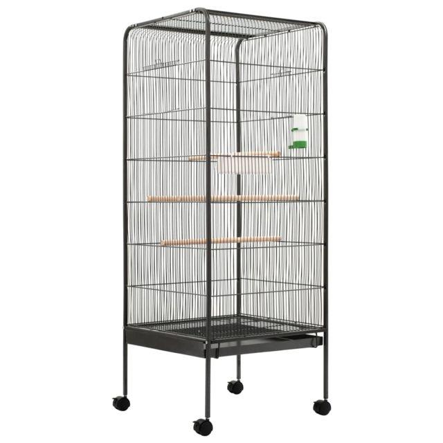 Vidaxl Cage à oiseaux Gris 54x54x146 cm Acier