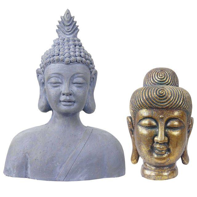 2x Figure De Decoration Bouddha 38 60cm Polyresin Sculpture Tete Interieur Exterieur