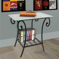 Générique - Table de décoration intérieur Métal forgé et Verre trempé Design Noir Chevet lit Salon Chambre