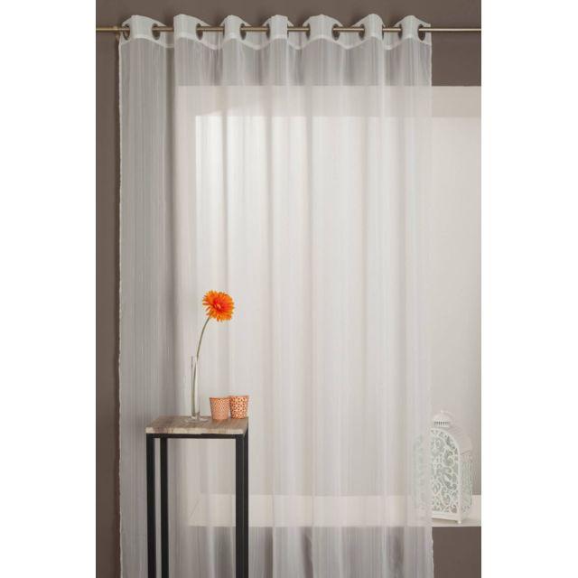 Rideaudiscount rideau voilage grande largeur fines rayures brod es pas cher achat vente - Rideau grande largeur pas cher ...