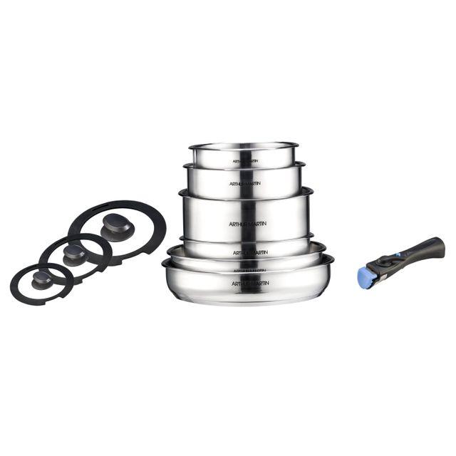 Electrolux Arthur Martin - Batterie 10 pcs - Tout inox - Manche amovible - Induction Acier Inoxydable