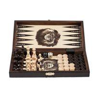 Prime Chess - 7.6cm 1 - Jeu D'échecs En Bois Backgammon Jeu de dames Set - Petit