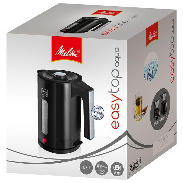 MELITTA BOUILLOIRE EASY AQUA TOP NOIR Bouilloire moderne avec une capacité de 1,7 L, pour la préparation de boissons chaudes comme le thé, café ou l'aide à la préparation culinaire et les soupes