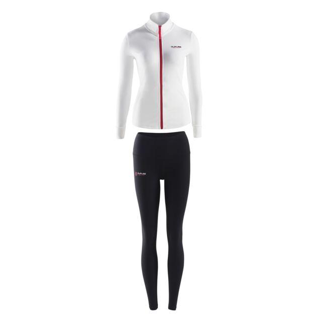 Duruss Veste Blanche + T-shirt Manches Noires + Legging Long Blanc + Noir