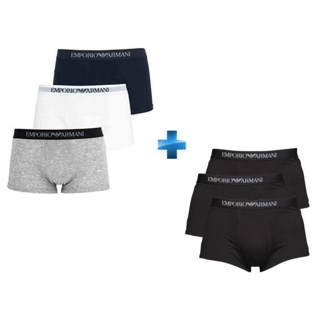 EMPORIO ARMANI - Lot de 3 boxers TRUNK Blanc Gris chiné Bleu marine ... 9b4319b245c