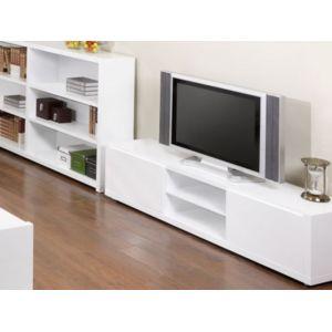 marque generique meuble tv oural mdf laqu blanc 2 portes 2 niches pas cher achat. Black Bedroom Furniture Sets. Home Design Ideas