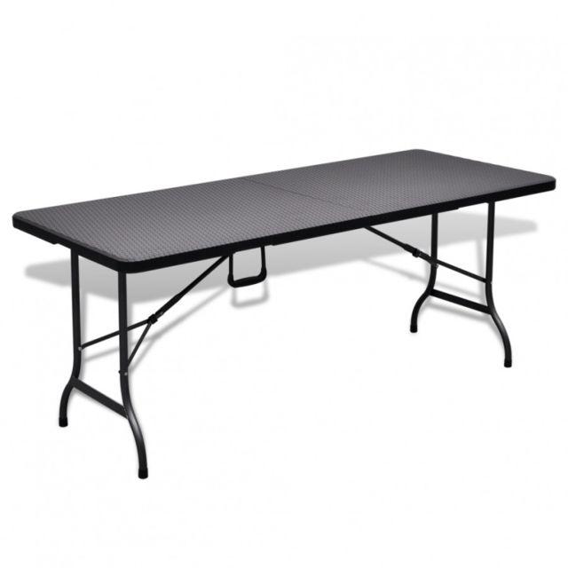 MAJA+ - Table de jardin pliante noire 180 cm - pas cher ...