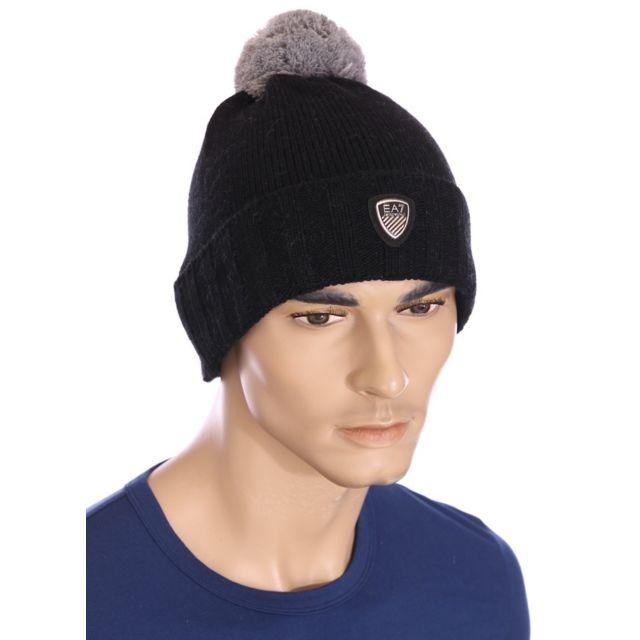 b388dc0ff55f6 Armani - Ea7 - Emporio - Bonnet noir à pompon homme 275557 5A393 - pas cher  Achat / Vente Casquettes, bonnets, chapeaux - RueDuCommerce