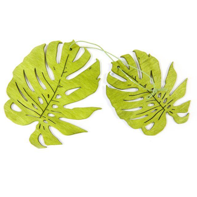 Visiodirect 20 feuilles tropicales à Suspendre en Bois en vert - 11 x 10 cm