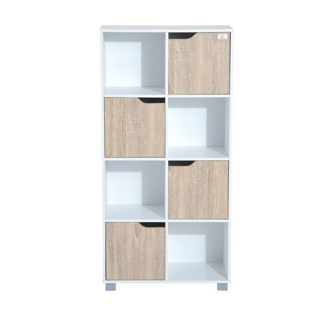 HOMCOM Bibliothèque meuble de rangement bicolore 4 casiers ouverts 4 portes coloris bois de chêne et blanc neuf 29WT