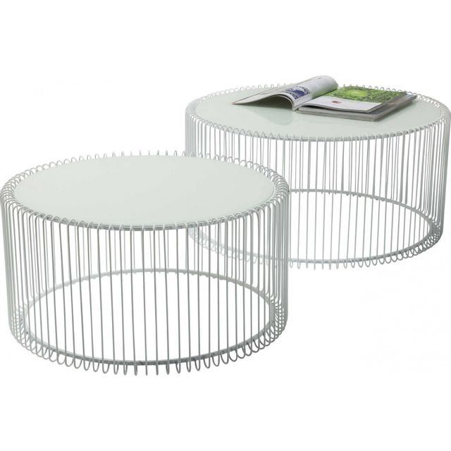 Karedesign Tables basses rondes Wire blanche set de 2 Kare Design