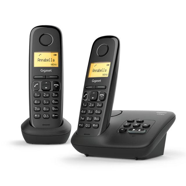 gigaset t l phone fixe sans fil duo avec r pondeur a170a noir pas cher achat vente. Black Bedroom Furniture Sets. Home Design Ideas