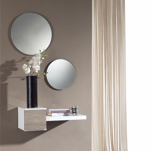 tousmesmeubles meuble dentre blancchne clair miroir tiga