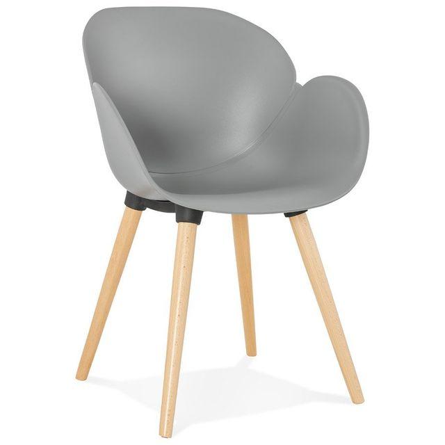Alterego Chaise design scandinave 'PICATA' grise avec pieds en bois