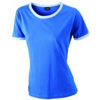 dac83e832c87 T-shirt bicolore pour femme Jn018 - bleu roi et blanc. JAMES   NICHOLSON ...