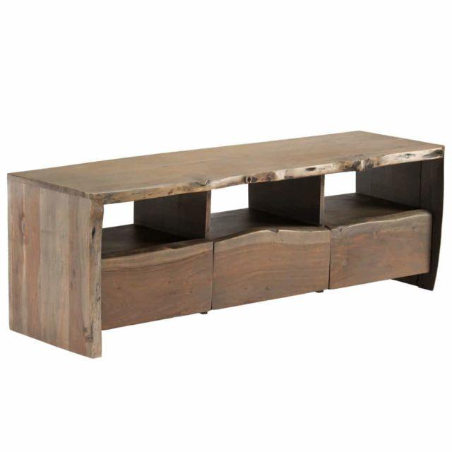 Helloshop26 Meuble télé buffet tv télévision design pratique bois d'acacia massif bordure assortie 120 cm 2502127