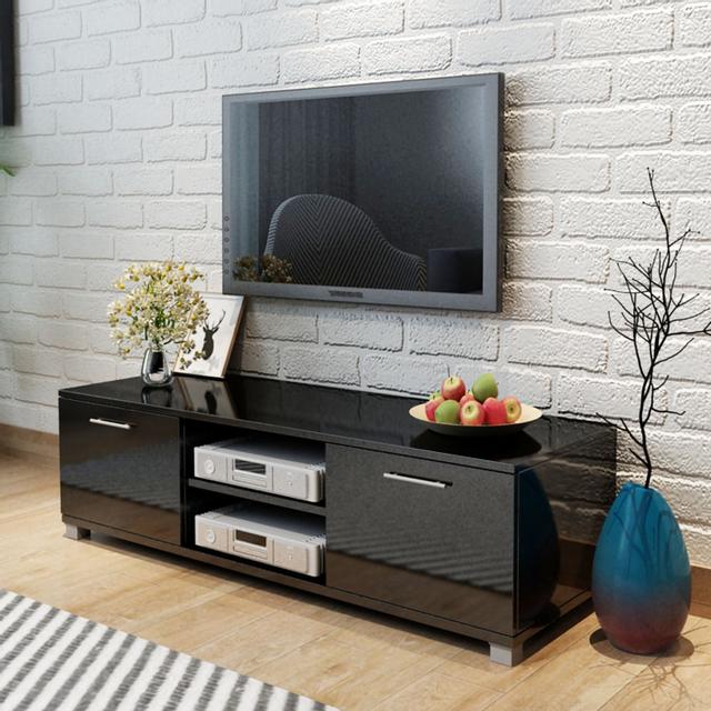 Vidaxl Meuble Tv Noir brillant 120 x 40,3 34,7 cm