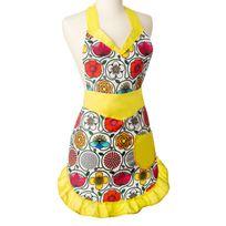 Vigar - Tablier de cuisine imperméable polyester motif fleuri jaune 80x75cm Frida