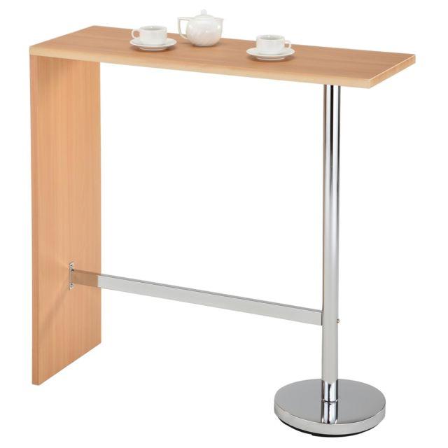 Table Haute De Bar.Table Haute De Bar Ricardo Mange Debout Comptoir Pietement Metal Chrome Plateau En Mdf Couleur Hetre