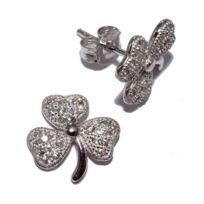 Fantzi - Boucles d'oreille trèfle en argent rhodié avec oxydes de zirconium