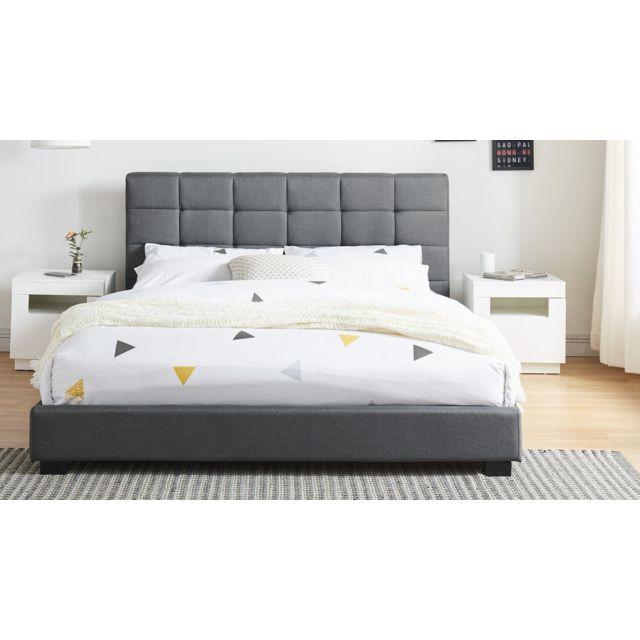homifab lit adulte avec t te de lit capitonn e en tissu. Black Bedroom Furniture Sets. Home Design Ideas