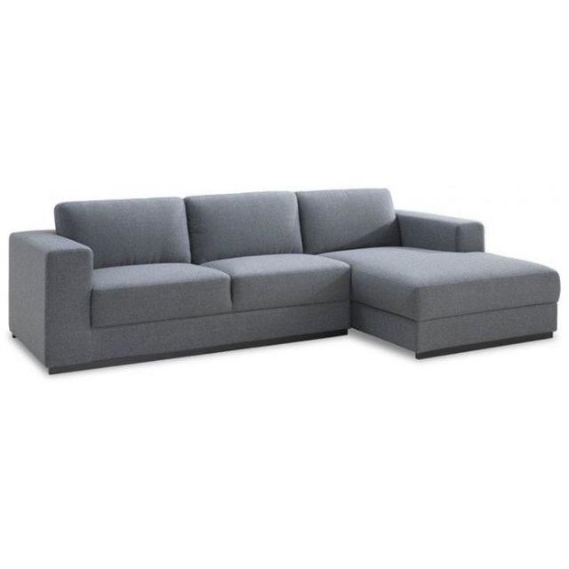 DECLIKDECO Canapé d'angle droit gris en tissu Baldwin
