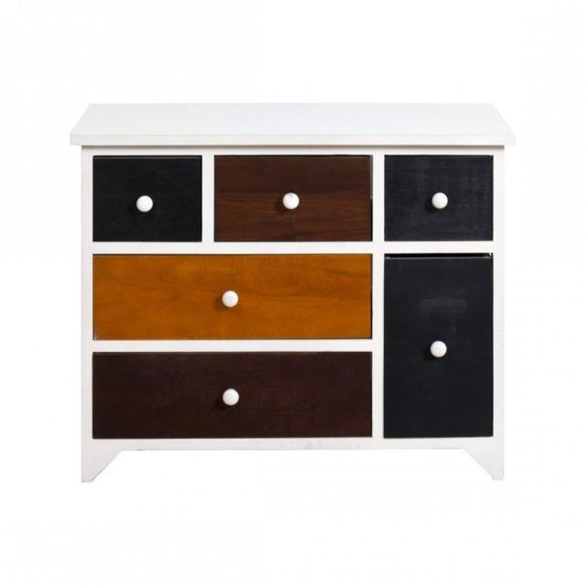 mobili rebecca armoire commode meuble 6 tiroirs bois marron color urban maison