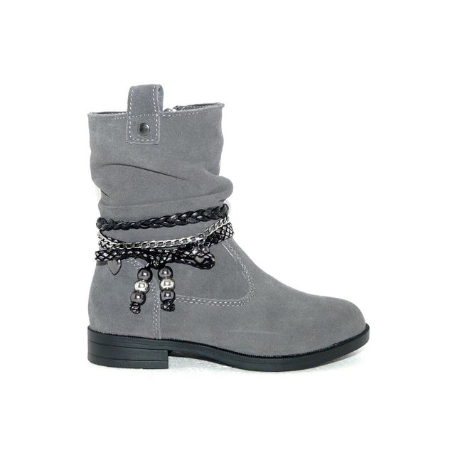 acc99627a8f5f Bopy - Bottines fille chaussures Cuir gris fermeture Zip pointure 28 ...