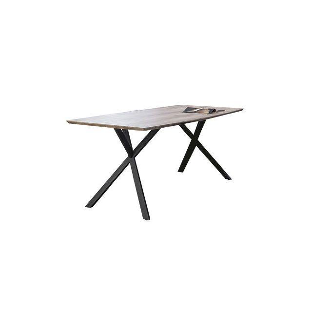 Table à manger forme tonneau 160x90cm piètement métal, plateau melaminé 3D d