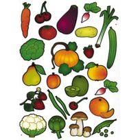 Majuscule - maxi gommettte adhesive, fruit et legume - pochette de 100