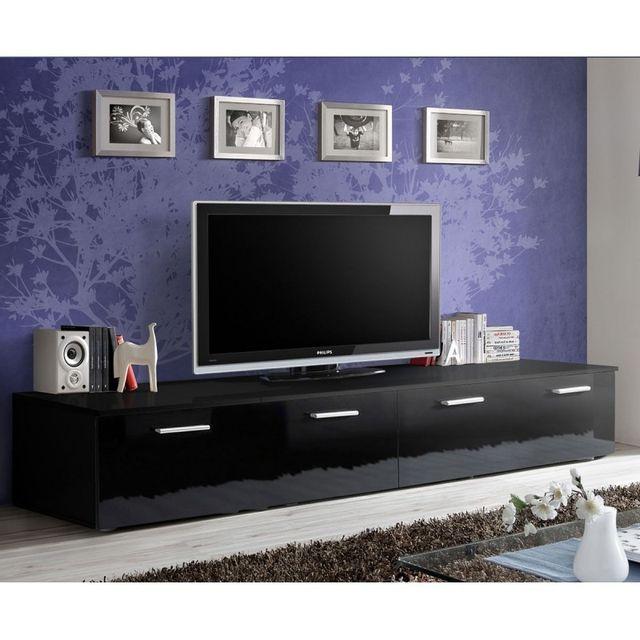 """paris prix - meuble tv design """"duo"""" 200cm noir - pas cher achat"""
