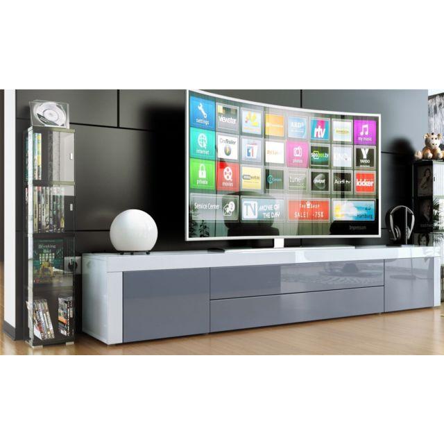 Mpc Meuble bas tv laqué blanc / gris