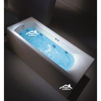 Maison De La Tendance - Baignoire en acrylique lucite rectangulaire Sine 160x70x40 cm avec tablier Wenge