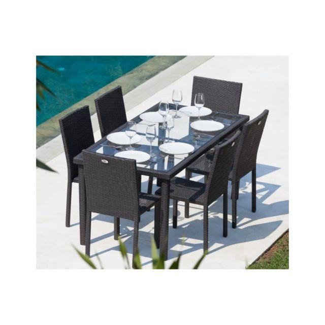 Beau rivage - Table + 6 chaises acier et résine tressée gris ...