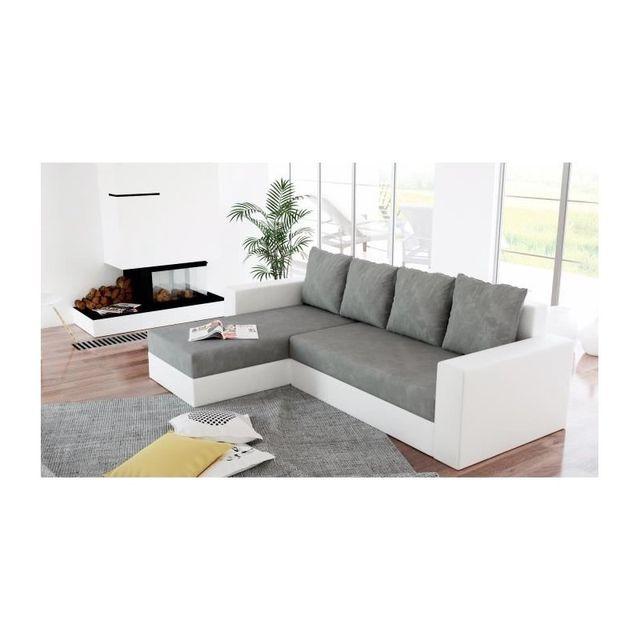meublesline canap dangle rversible lit arion gris et blanc grisblanc 155cm x 80cm x 230cm achat vente canaps pas chers rueducommerce - Canape D Angle Gris Et Blanc