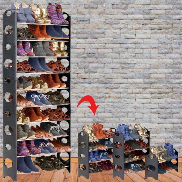 Idmarket etagère range <strong>chaussures</strong> modulable 2 en 1 30 paires