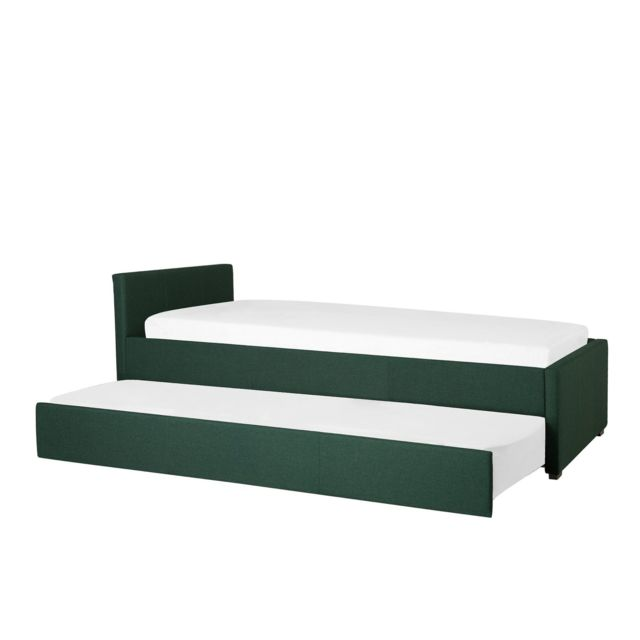 BELIANI Lit gigogne en tissu vert foncé 90 x 200 cm MARMANDE - vert